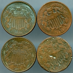 Two Cent pieces 4 piece lot CULLS