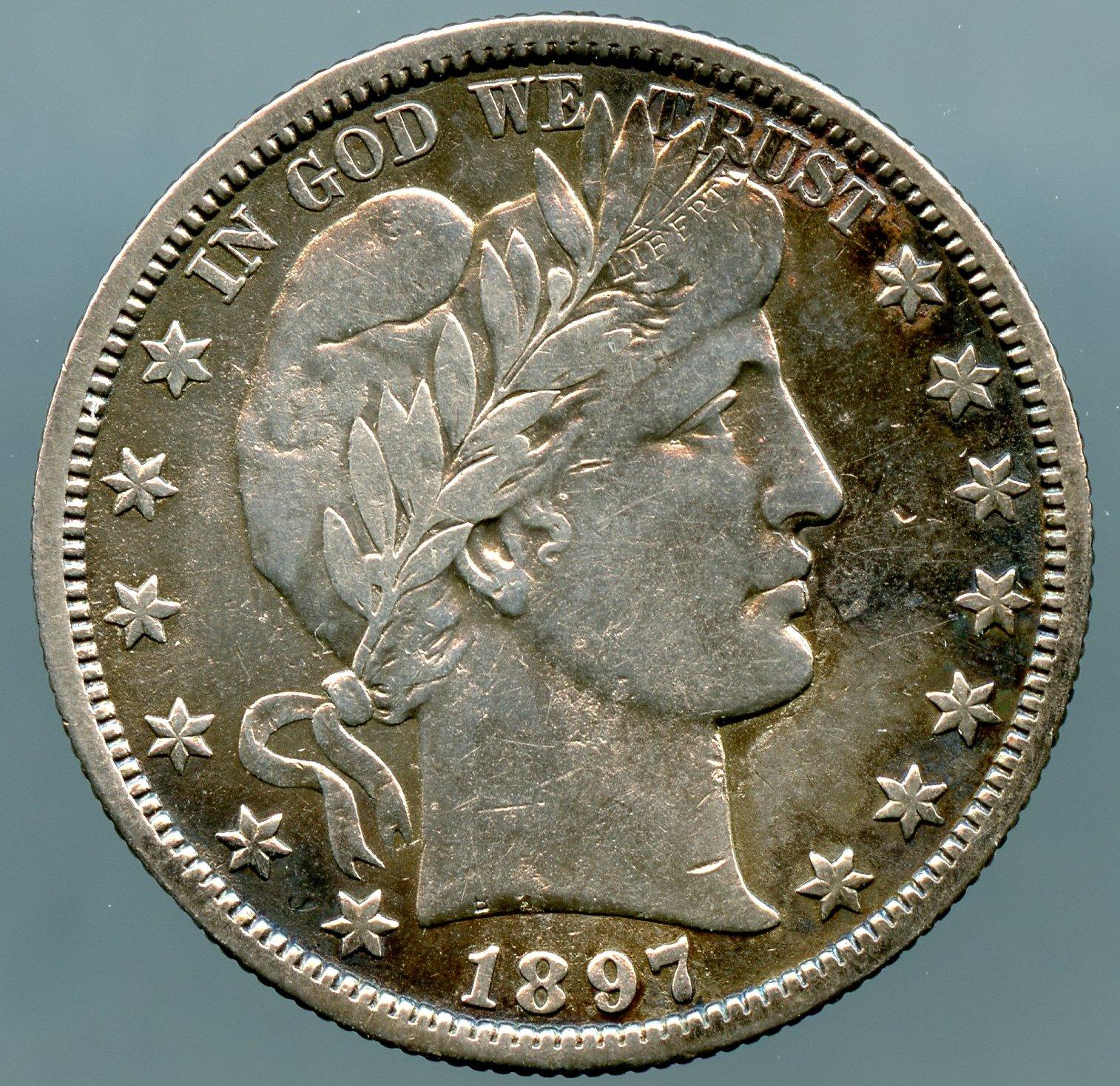 1897 O Barber Half Dollar Choice Vf 35 Cleaned