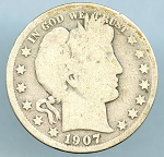1907 D Barber Half Good minus