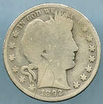 1892 Barber Half Dollar About Good