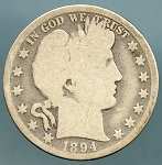 1894 Barber Half Dollar About Good