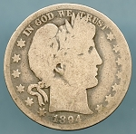 1894-O Barber Half Dollar Poor