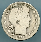 1894 S Barber Half Dollar About Good
