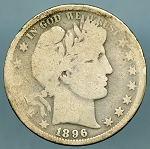 1896 S Barber Half Dollar About Good