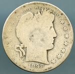 1898 S Barber Half Dollar About Good