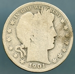 1901 S Barber Half Dollar About Good