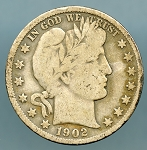 1902 S Barber Half Dollar About Good