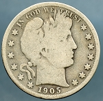 1905 S Barber Half Dollar Good / About Good
