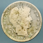 1907 D Barber Half Dollar About Good