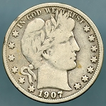 1907-O Barber Half Dollar VG  plus