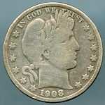 1908 D Barber Half Dollar About Good