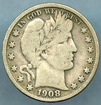 1908 S Barber Half Dollar About Fine
