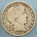 1909 S Barber Half Dollar Very Good