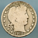1912 Barber Half Dollar About Good