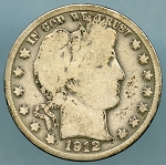 1912 D Barber Half Dollar About Good