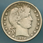 1912 D Barber Half Dollar Fine Cleaned