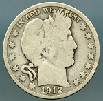 1912 S Barber Half Dollar Good