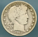 1912 S Barber Half Dollar Very Good