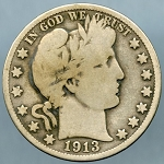 1913 D Barber Half Dollar Very Good