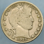 1913 S Barber Half Dollar Very Good