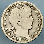 1914 Barber Half Dollar Good/Very Good