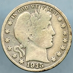 1915 Barber Half Dollar Very Good - Cleaned