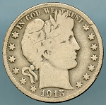 1915 D Barber Half Dollar About Good