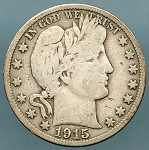 1915 S Barber Half Dollar About Fine