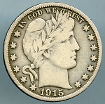 1915 S Barber Half Dollar Fine - Damaged