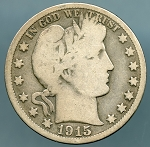 1915 S Barber Half Dollar Good