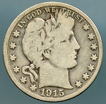 1915 S Barber Half Dollar Very Good