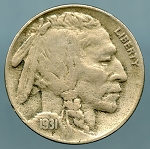 1931-S Buffalo Nickel VF-20