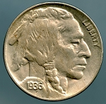 1936 Buffalo Nickel AU-50