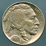 1937 Buffalo Nickel AU 50