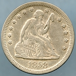 1858 Seated Quarter XF-40