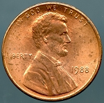 1988 Lincoln Cent Brockage Reverse - Mint State