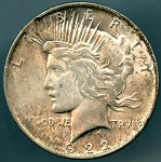 1922 Peace Dollar Clipped Planchet 11:00 - Mint State