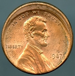1987 Lincoln Cent Off-Center 15% - Mint State