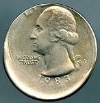 1983-P Washington Quarter Off-Center, Scratch on Reverse- Mint State