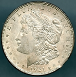 1921 Morgan Dollar Clipped Planchet 5:00 - AU58