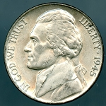1945-P Jefferson Nickel Wartime Issue Lamination on Obverse - Mint State