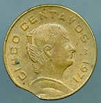 1971 Mexico 5 Centavos Clipped Planchet 6:00