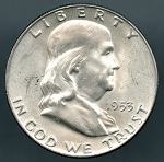 1953 D Franklin Half Dollar B.U. MS-60