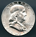 1958 Franklin Half Dollar B.U. MS-60