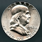 1958 Franklin Half Dollar Choice B.U. MS-63