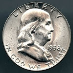 1958 D Franklin Half Dollar B.U. MS-60