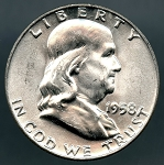 1958 D Franklin Half Dollar Choice B.U. MS-63