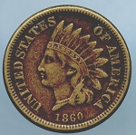 1860 C.N. Indian Cent VF 20