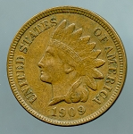 1909 Indian Cent XF 40