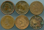 6 piece Indian cent cull lot 1863, 1865, 1874, 1875, 1879, 1909